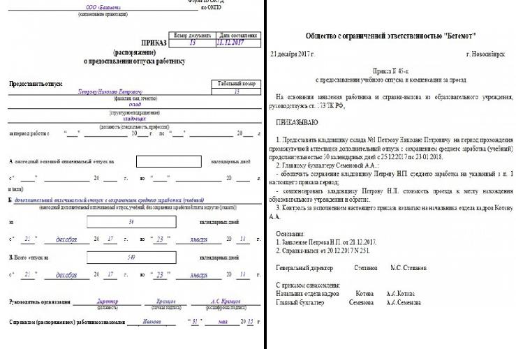 Распоряжение по форме т-6 и в произвольном варианте
