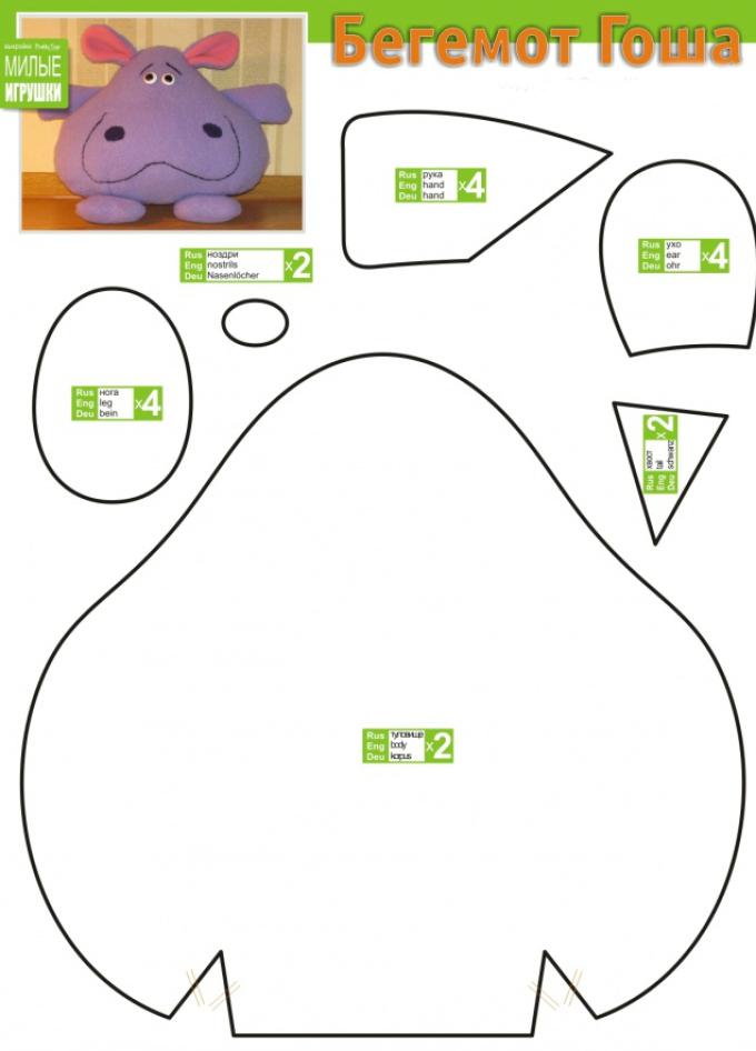vikroika-begemot Как сделать простые мягкие игрушки своими руками
