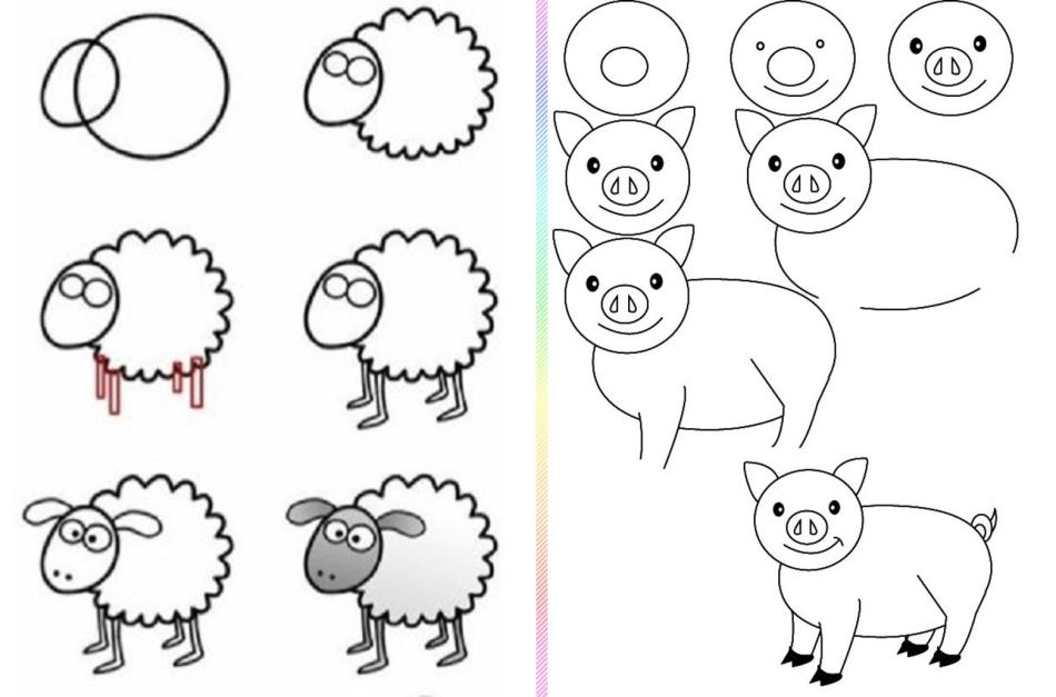 ovca-i-svinya-risunok-poyetapno Красивые и легкие рисунки для срисовки карандашом поэтапно для начинающих. Красивые и легкие рисунки по клеточкам для срисовки в тетради и личном дневнике для девочек и мальчиков
