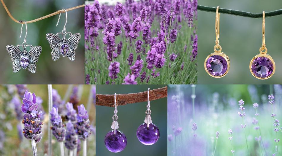 Ювелирные изделия с аметистом бывают всех оттенков фиолетового