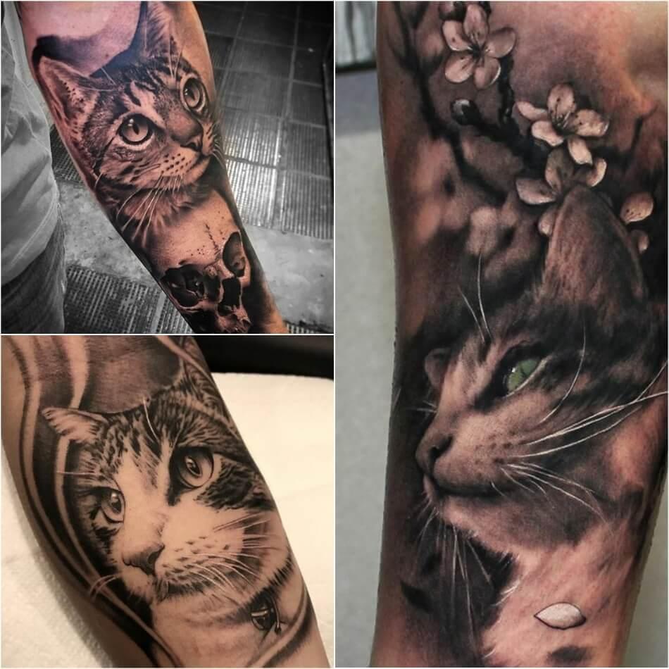 Кошка - татуировка,3 сделанная в стиле реализм