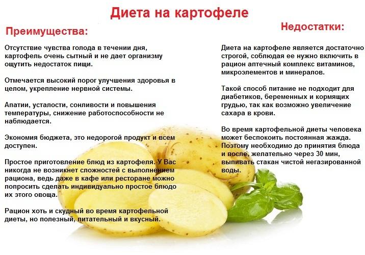 Картофельно капустная диета меню