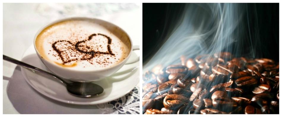 Чашка кофе и кофейные зерна в дыму