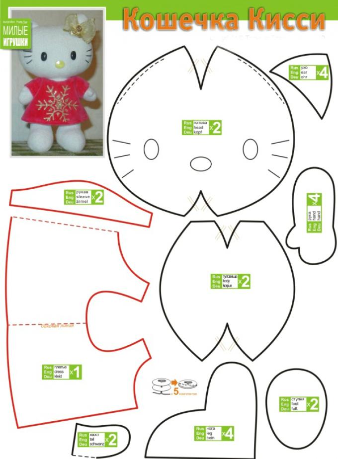 vikroika-helou-kitti Как сделать простые мягкие игрушки своими руками