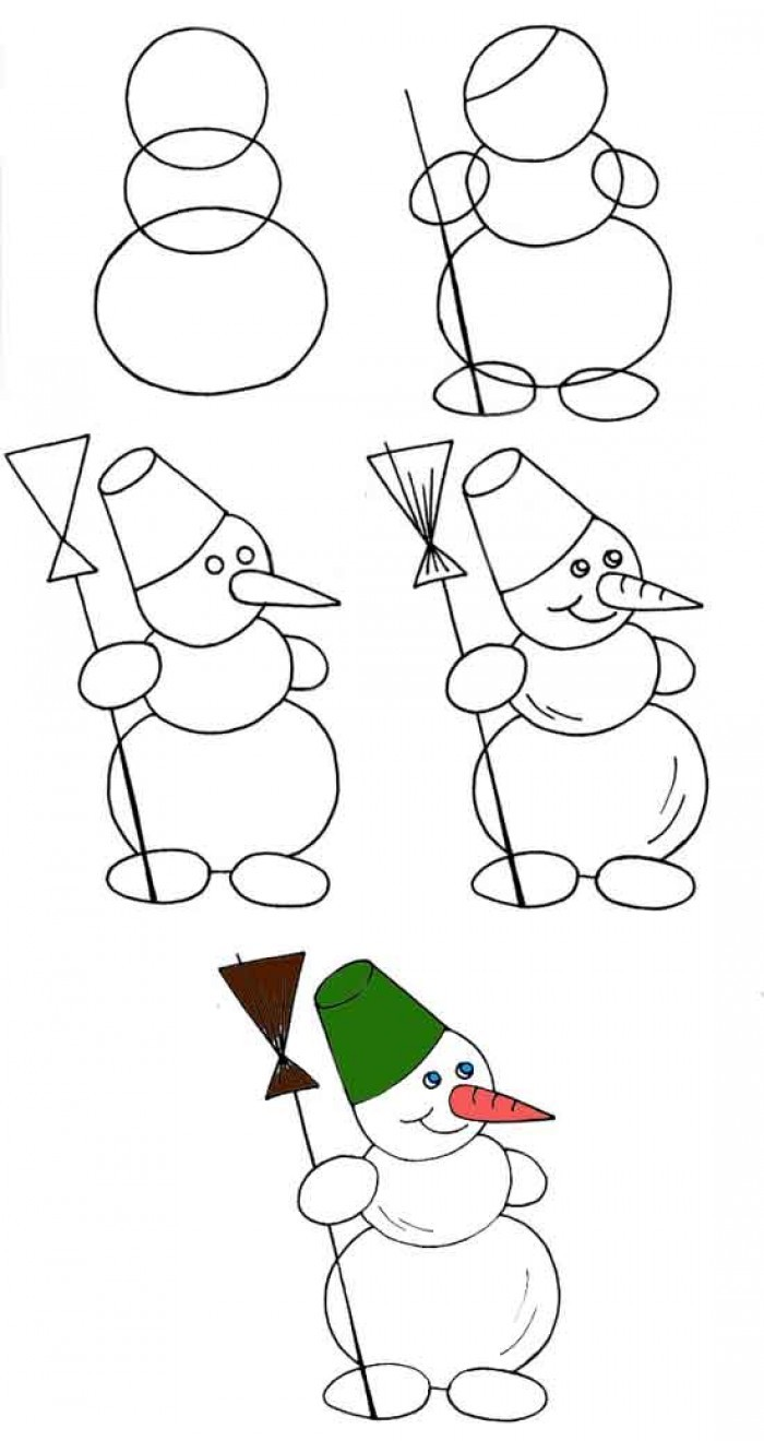 Мультфильмов марта, как нарисовать пошагово новогоднюю открытку