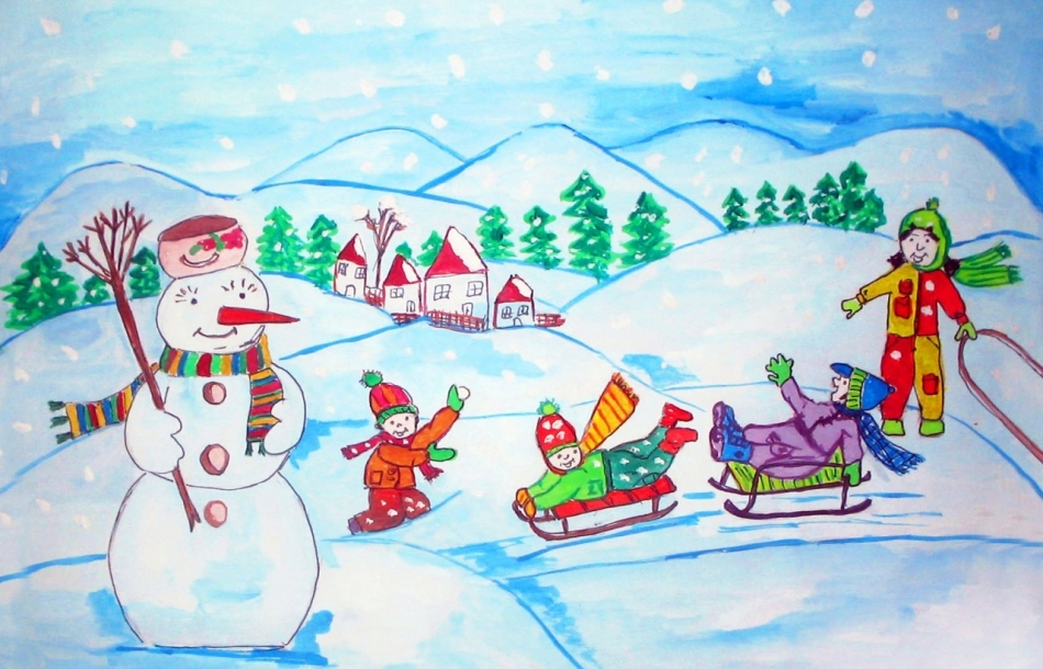 Зимние картинки для детей нарисовать