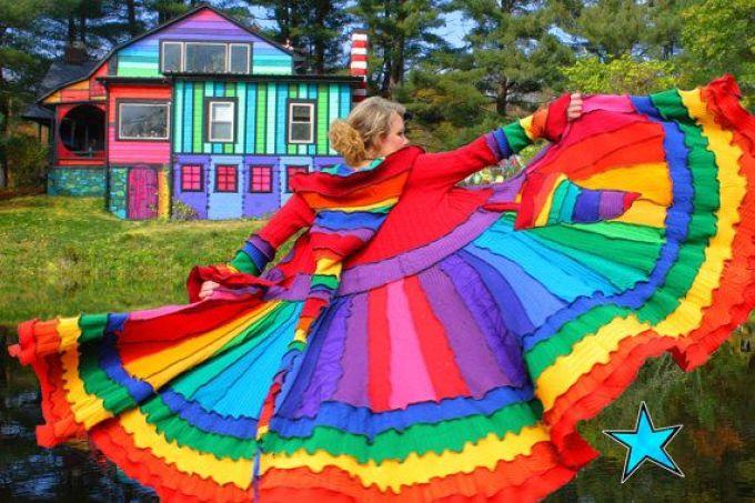 Трикотажное пальто радуга из старых свитеров