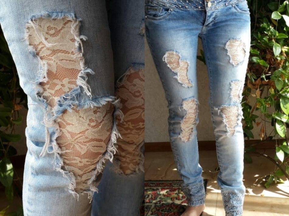 Оригинальные заплатки из кружева на женских джинсах