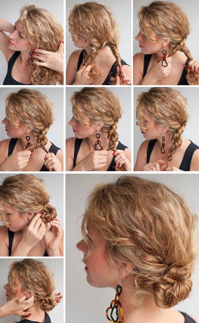 А вот пучок из кудрей, который можно сделать со средними и длинными волосами