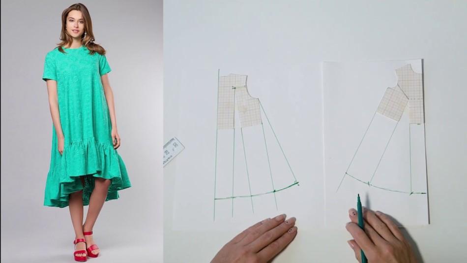 pishnoe-plate-s-oborkami Выкройка платья трапеция: что представляет собой фасон трапеция — схема классической выкройки платья-сарафана. Платья трапеция для полных: схема чертежа. Выкройка расклешенного платья-сарафана