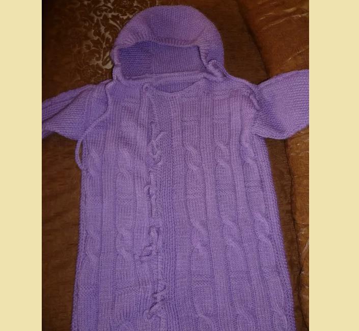 kapyushon-dlya-konverta-novorozhdennogo-spicami Конверт для новорожденного зимний: вязание спицами