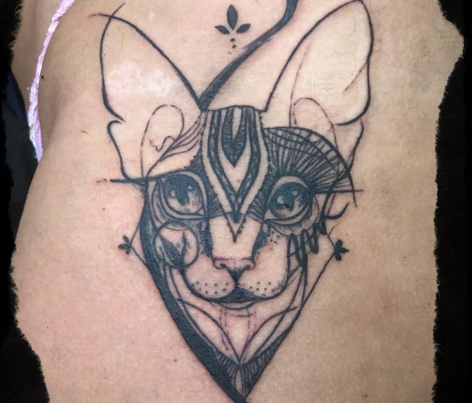 Эскиз для татуировки - кошка