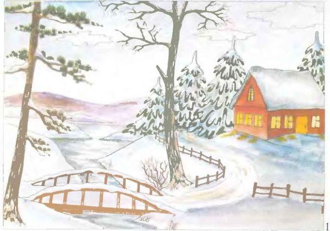 Картинки как нарисовать зиму карандашом поэтапно