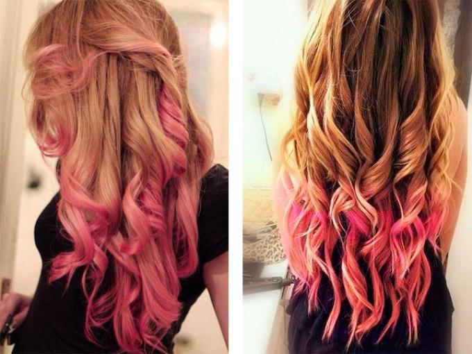Нежно-розовое омбре на русые волосы