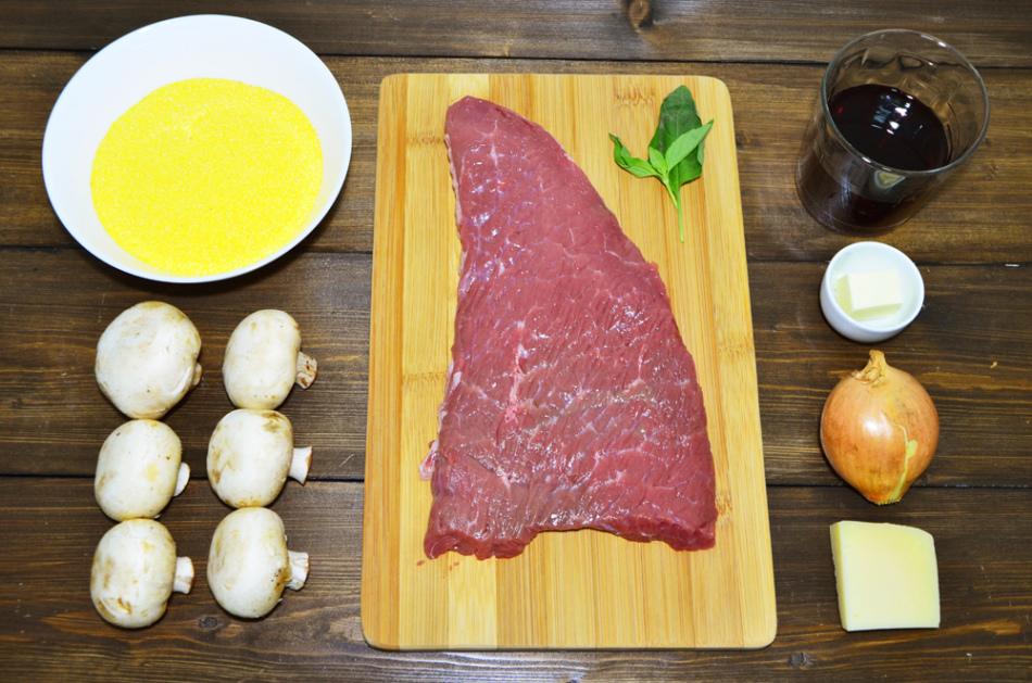 Вот такие ингредиенты необходимы для мяса с грибами в вине