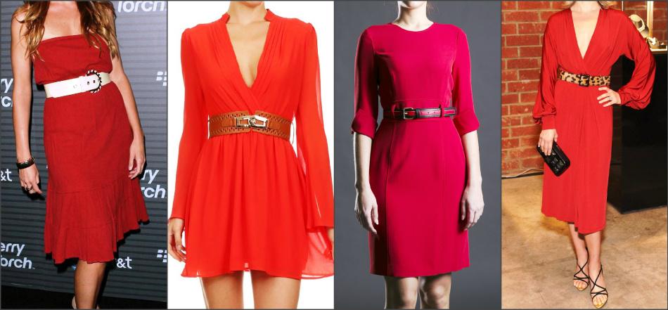 7803f422cc5 Красное платье можно носить с широким кожаным ремнем