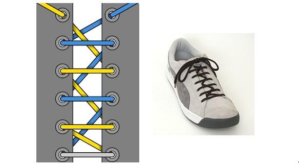 """""""европейская шнуровка"""" - обычный, но интересный способ завязывания шнурков"""