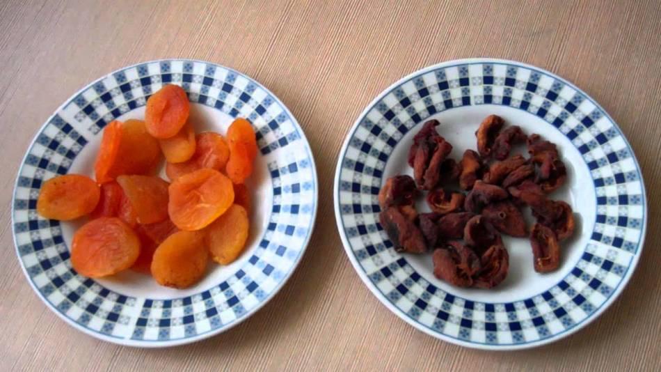 Абрикосы, обработанные сернистым газом и плоды, высушенные естественным путем