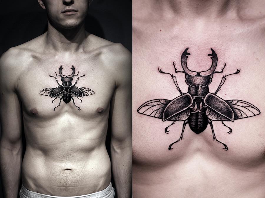 Татуировка-амулет в виде жука-скарабея