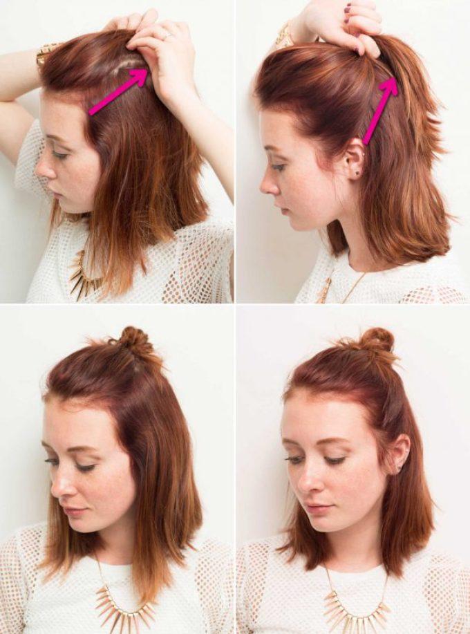 Создание полупучка из коротких или средних волос
