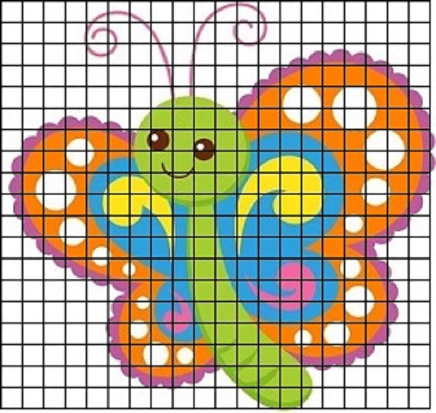 babochka-s-pestrimi-krilyami-dlya-srisovki-po-kletochkam Красивые и легкие рисунки для срисовки карандашом поэтапно для начинающих. Красивые и легкие рисунки по клеточкам для срисовки в тетради и личном дневнике для девочек и мальчиков