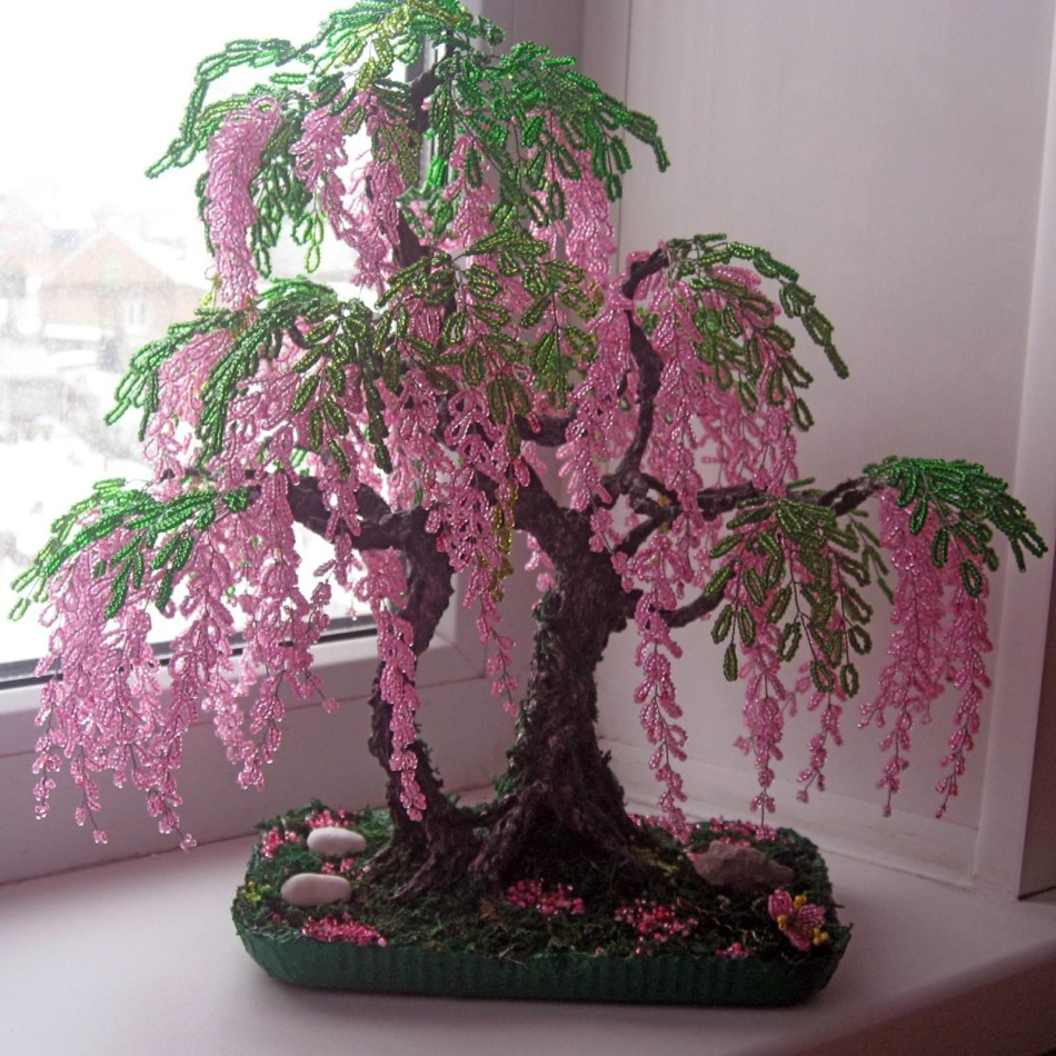 gliciniya-iz-bisera Золотое дерево из бисера своими руками. Пошагово