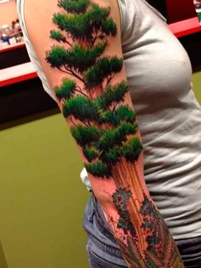 Тату-рукава в виде леса
