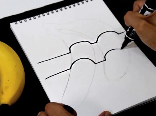 nachinaem-provodit-linii Как нарисовать 3д (3d) рисунок на бумаге карандашом