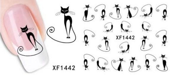 Наклейки с кошками для маникюра