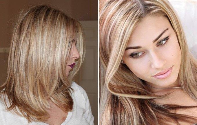 Классическое мелирование на русые волосы