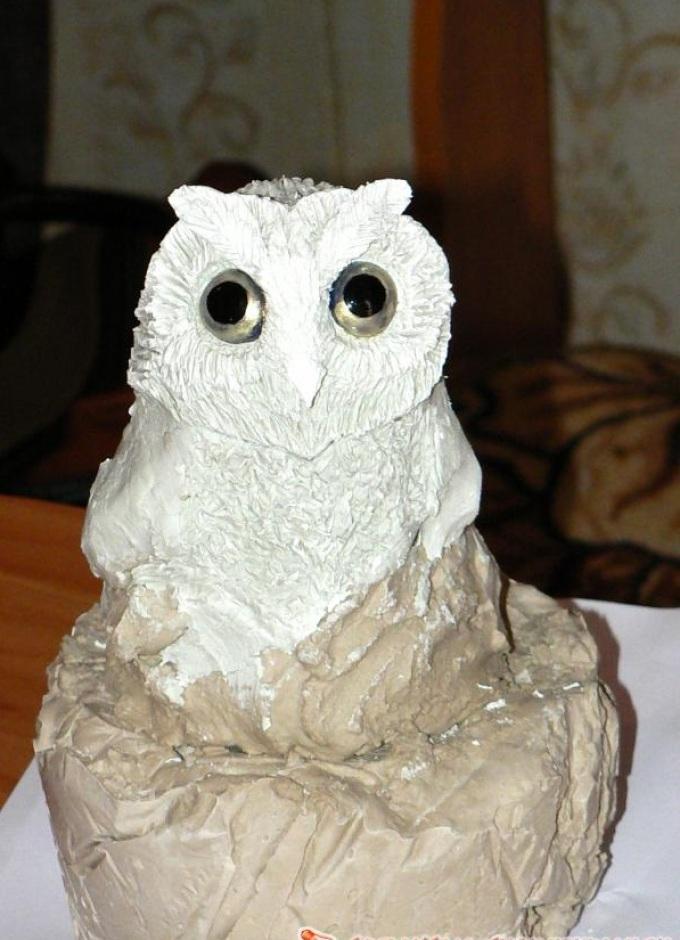 sova-iz-polimernoi-glini-s-opereniem-i-glazami Изделия, поделки из полимерной глины: мастер класс для начинающих своими руками