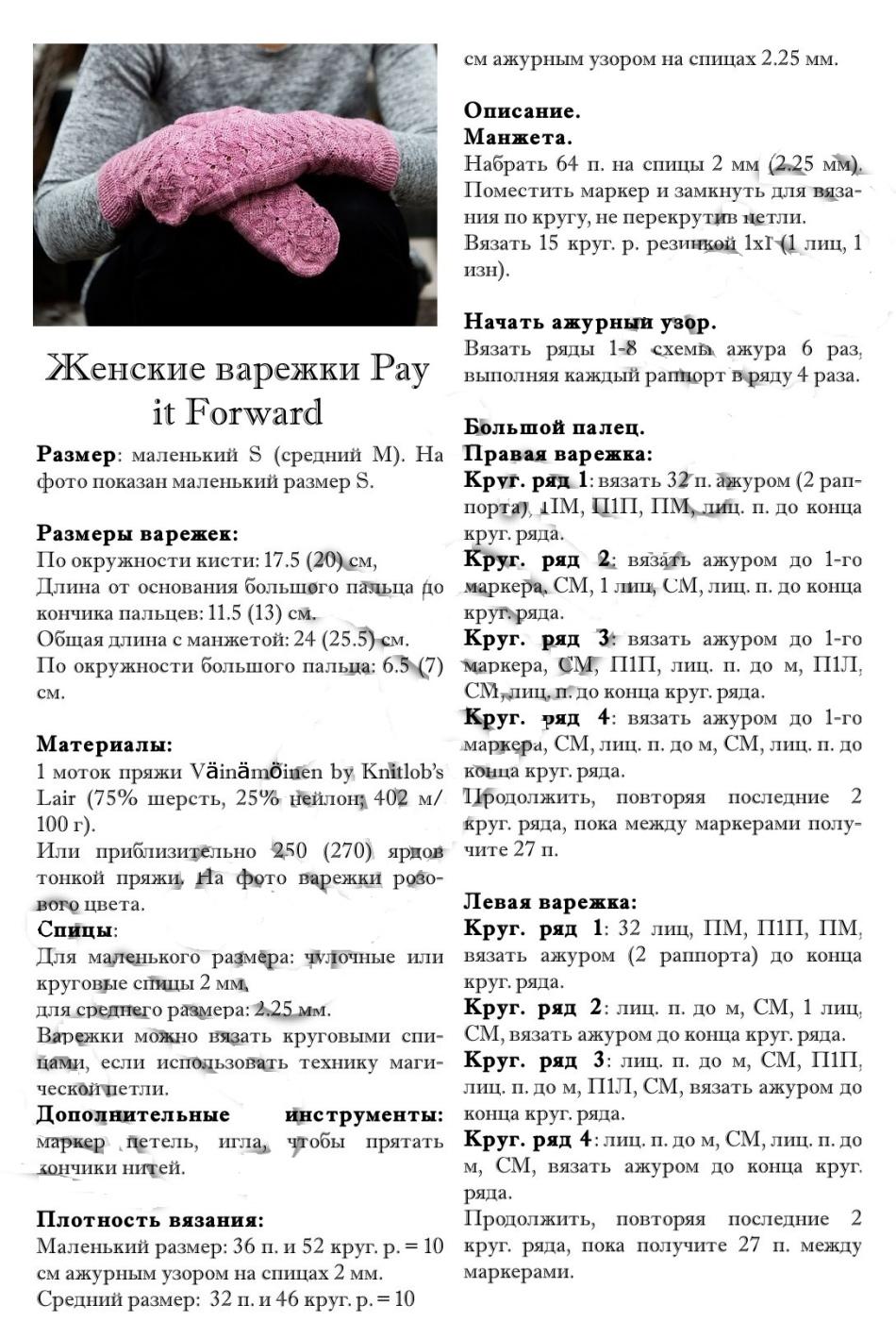 opisanie-vyazaniya-spicami-zhenskih-azhurnih-varezhek Варежки с откидным верхом крючком и спицами с описанием и видео