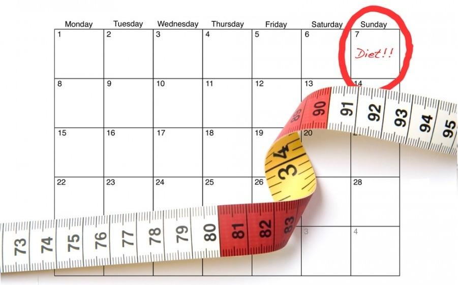 Календарь поможет не сорваться в течении курса любимой диеты