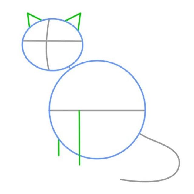 Как нарисовать сидящую кошку: набросок — нанесение вспомогательных линий