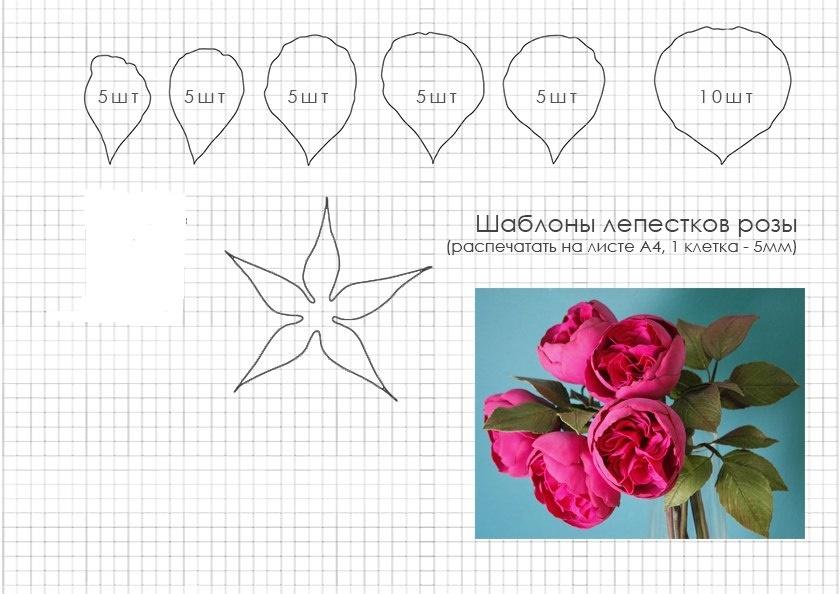 Шаблоны розы из фоамирана