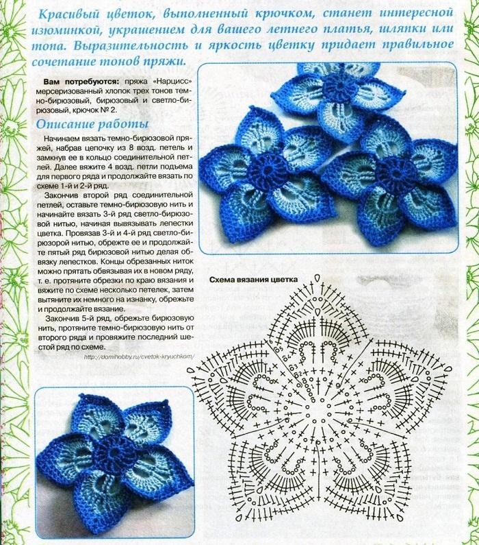 cvetok-s-zaostrennimi-lepestkami Объемные цветы крючком схемы с описанием, видео как связать объемный цветок