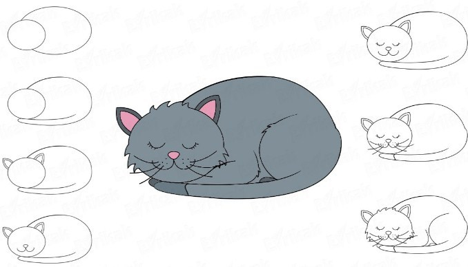 spyashii-kotik Как нарисовать котенка карандашом поэтапно для начинающих и детей? Как нарисовать котенка аниме с милыми глазками, мордочку котенка?