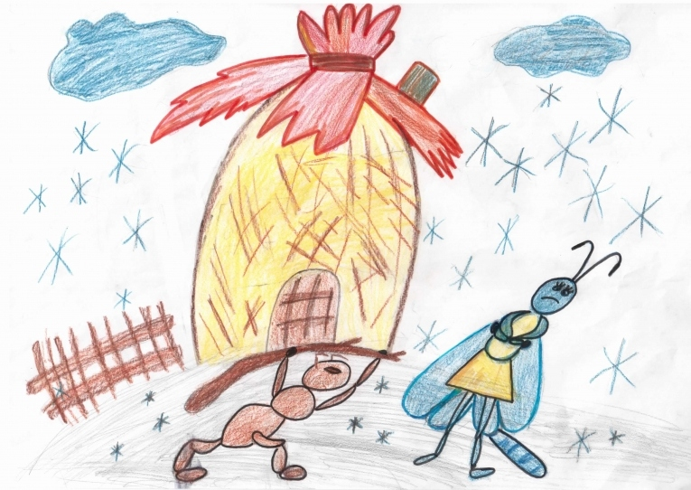 Стрекоза и муравей детские картинки