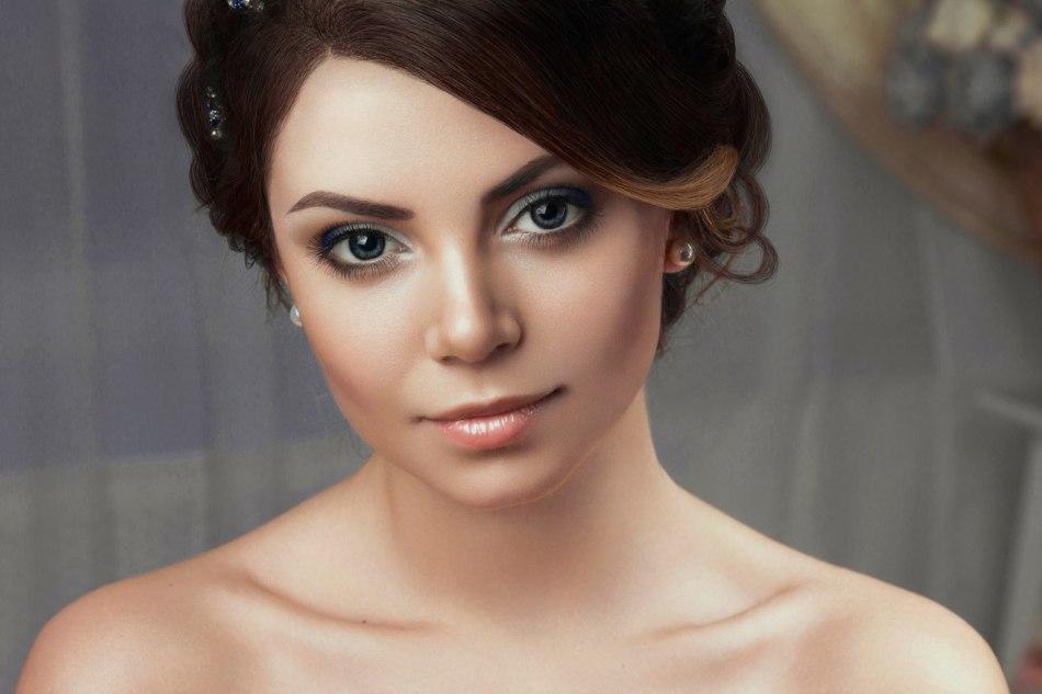 Макияж для невесты с тёмными волосами