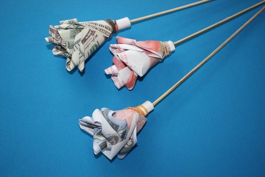 Получаются такие розы из денег