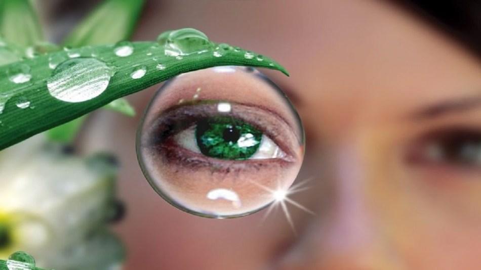Девушка в линзах смотрит через каплю, свисающую с листа алоэ