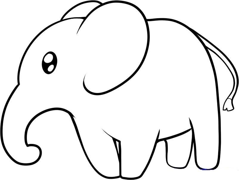 gotovii-risunok-slona-pered-raskrashivaniem Как нарисовать слона поэтапно: 5 вариантов как легко и просто нарисовать слона карандашом