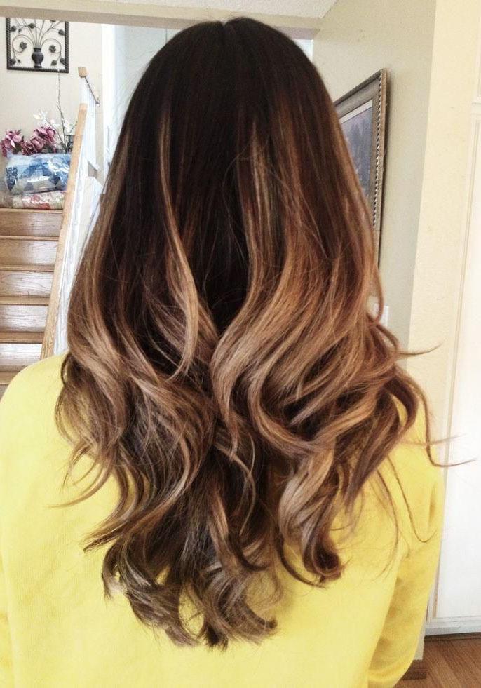 Эффектное омбре на длинные темно-русые волосы