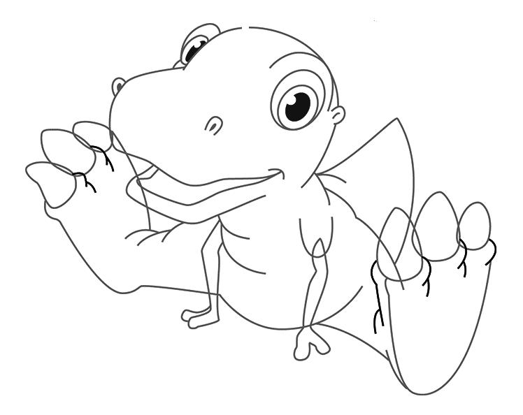 Динозавр тирекс карандашом, шаг 4