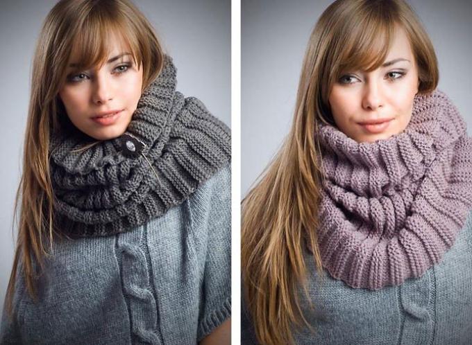 Как связать снуд круговой шарф спицами?