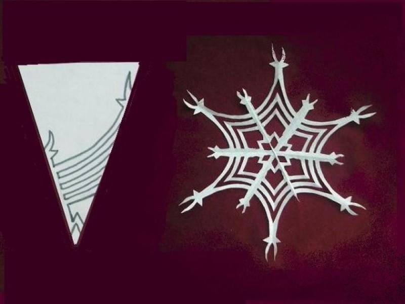 gotovaya-snezhinka-i-shema-risunka-dlya-ee-virezaniya-variant-1 Как вырезать красивые снежинки из бумаги своими руками поэтапно? Как сделать объёмную снежинку оригами?