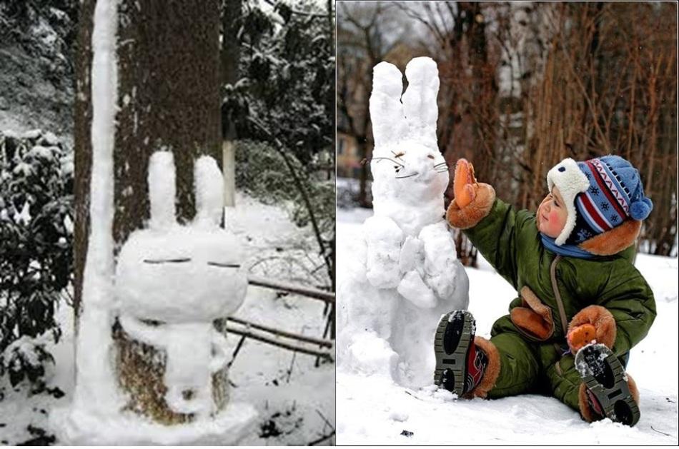 Пара фото со слепленными из снега зайцами