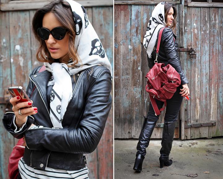 kak-nosit-platok-na-golove-s-kurtkoi Как красиво завязать на голову шарф разными способами? Как красиво и стильно завязать шарф на голове летом, с пальто, мусульманке?