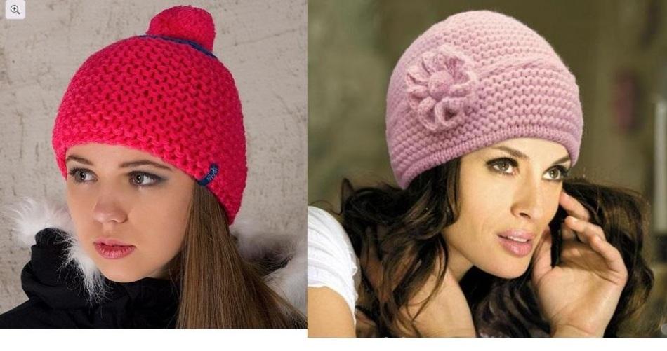 Простые женские моели шапок, связанные вертикально платочным узором, пример 1