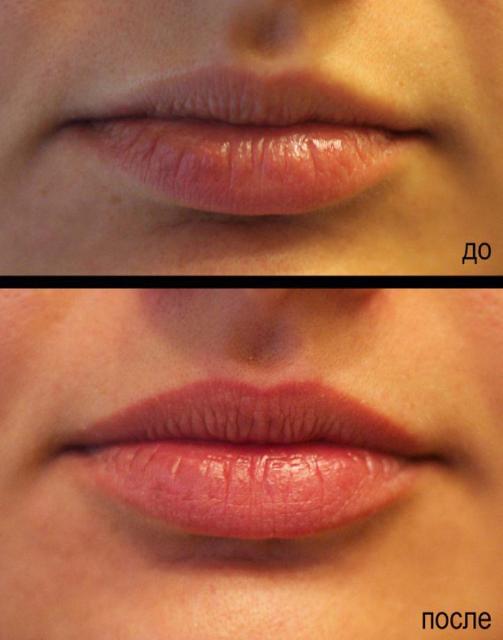 kontur-gub---rastushevka Татуаж губ: фото до и после, с растушевкой цвета и контура. Заживление после татуажа. Видео